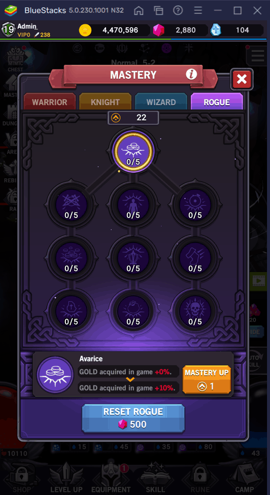 AFK Dungeon Rogue Mastery