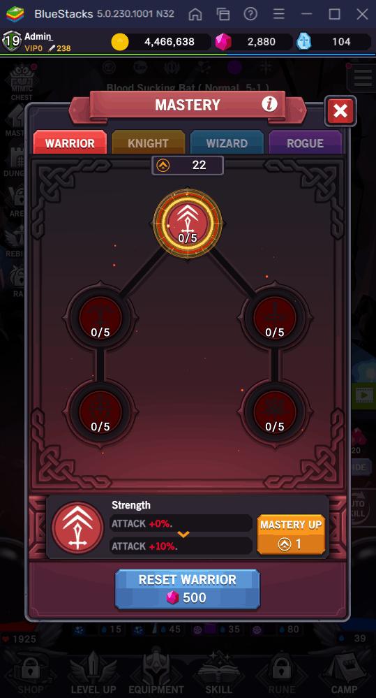 AFK Dungeon Warrior Mastery
