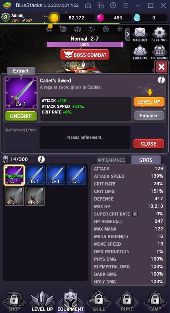 afk dungeon upgrade equipment