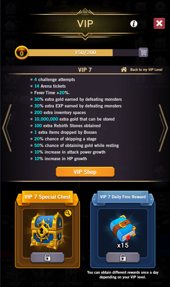AFK Dungeon VIP 7 benefits